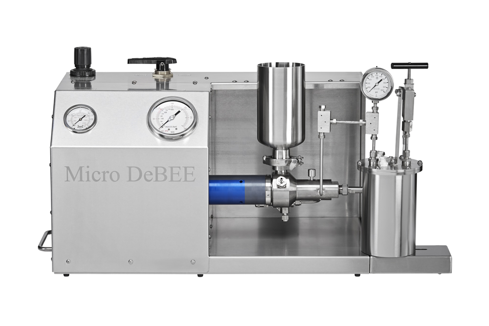 Homogeneizadorde alta pressão Micro DeBEE, até 45.000 psi / 3.100 bar, para redução de tamanho de partículas até a faixa nanométrica, disrupção de células, nano / micro emulsificação, dispersão, etc.